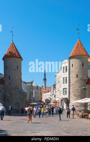 Viru Gate Tallinn, view of the Viru Gate in Tallinn - the eastern entrance to the central medieval Old Town quarter of the city, Estonia. - Stock Photo