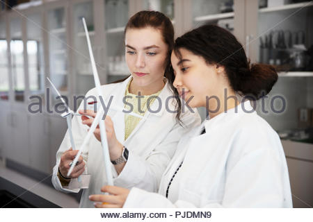Students studying science model in laboratory - Stock Photo