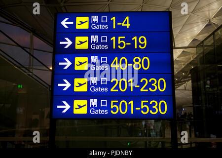 departure gate direction board terminal 1 hong kong international airport chek lap kok hong kong china