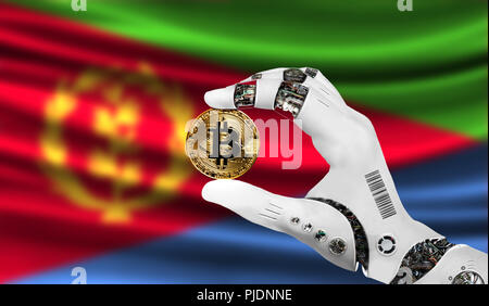crypto currency bitcoin in the robot's hand, the concept of artificial intelligence, background flag of Eritrea - Stock Photo
