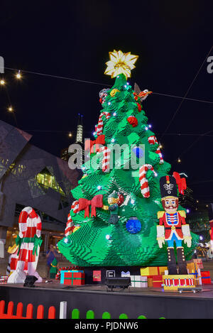 Lego Christmas tree and Santa Claus at Federation Square for celebration - Stock Photo