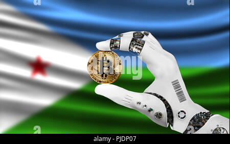 crypto currency bitcoin in the robot's hand, the concept of artificial intelligence, background flag of Djibouti - Stock Photo