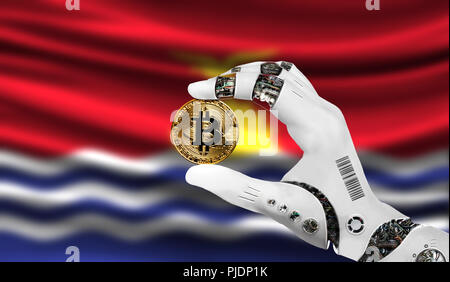 crypto currency bitcoin in the robot's hand, the concept of artificial intelligence, background flag of Kiribati - Stock Photo