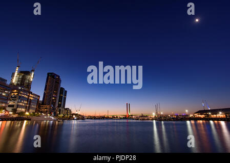View of Bolte Bridge from Docklands at evening, Melbourne, Australia - Stock Photo