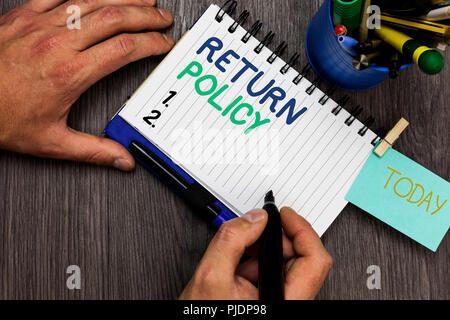 Conceptual hand writing showing Return Policy. Business photo showcasing Tax Reimbursement Retail Terms and Conditions on Purchase Man holding marker  - Stock Photo