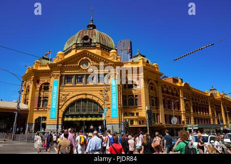 Flinders Street Station, the most famous landmark in Melbourne, Australia - Stock Photo