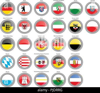 Set of icons. States of Germany flags. - Stock Photo