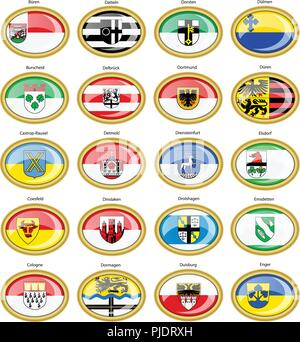 Set of icons. Flags of german cities (North Rhine-Westphalia). Vector. 3D. - Stock Photo