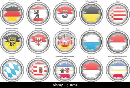 Set of icons. States of Germany flags. Vector. - Stock Photo