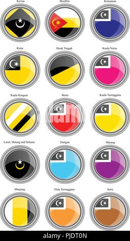 Set of icons. Flags of the Malaysian districts. Vector. - Stock Photo