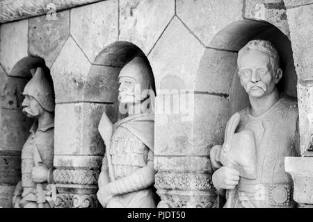 Sculpture of the Ancient Knights of the Fisherman's Bastion is a terrace in neo-Gothic and neo-Romanesque style situated on the Buda bank of the Danub - Stock Photo