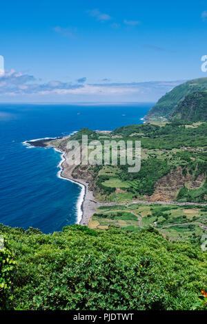 Flores Island, Portugal. July 28, 2018. A view of the western coast of Flores Island - Stock Photo