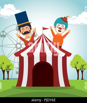 tent circus with clown and presenter - Stock Photo