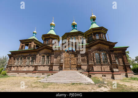 The Russian Orthodox Holy Trinity Cathedral in Karakol, Kyrgyzstan - Stock Photo