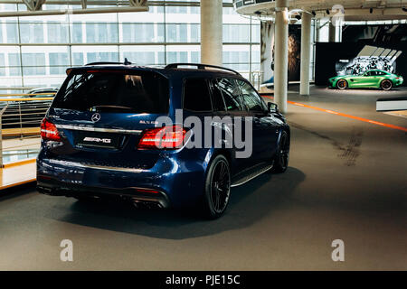 Berlin, August 29, 2018: Off-road car Mercedes-Benz AMG. Exhibition and sale of new cars in the official dealer center Mercedes-Benz in Berlin. - Stock Photo