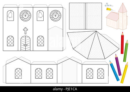 Church building paper craft model cut out sheet for making a church paper craft sheet unpainted cut out template for children for coloring and making maxwellsz