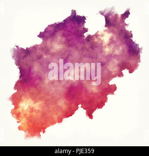 North Rhine-Westphalia federal state watercolor map of Germany in front of a white background - Stock Photo