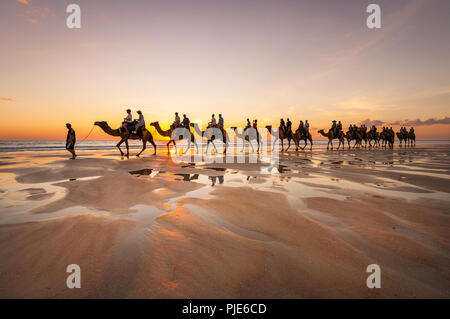 Camel Tour at famous Cable Beach in Broome. - Stock Photo