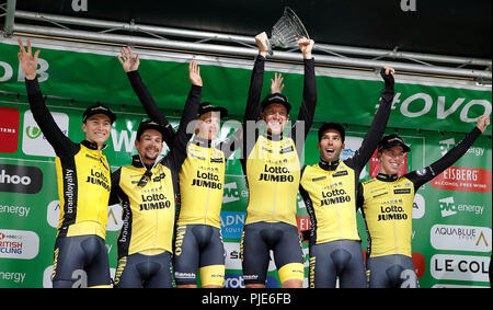 95667a04d Primoz Roglic of Team LottoNL-Jumbo celebrates taking the green ...