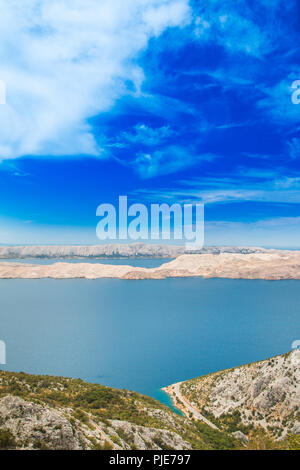 Aerial view of the island of Pag from Velebit mountain in Croatia - Stock Photo