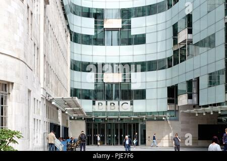 Exterior of Broadcasting House, BBC Headquarters Langham Place central London England UK - Stock Photo