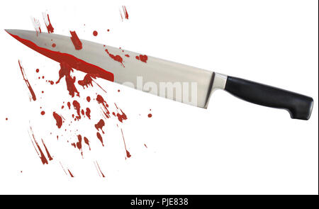 Bloody kitchen knife with scattered blood stains on white background - killer violance murderer concept background with copy space. - Stock Photo