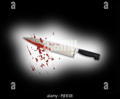 Blood kitchen knife with scatteredblood stains lighted up in a dark black space - killer violance murderer concept background with copy space. Black b - Stock Photo