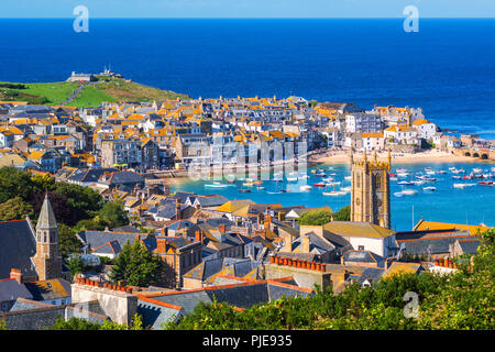 Picturesque St Ives, a popular seaside town and port in Cornwall, England - Stock Photo