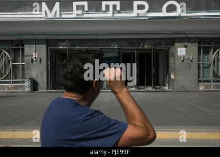Metro station Biblioteka Imeni Lenina outside, Moscow - Stock Photo