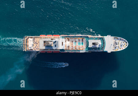 Tourist ship in the blue sea, aerial view - Stock Photo