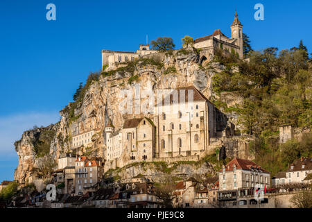 Rocamadour village, France, a beautiful medieval town a rock over a gorge, is an UNESCO world culture heritage site - Stock Photo