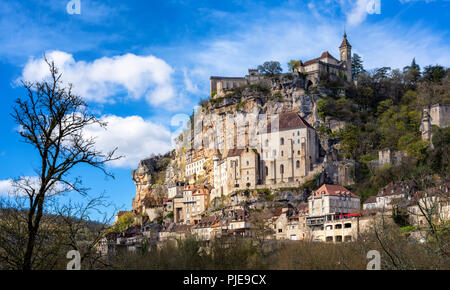 Rocamadour village, France, a beautiful medieval town, is an UNESCO world culture heritage site - Stock Photo