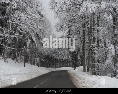 Winter Road scene in the French Alps near the border with Switzerland - Stock Photo