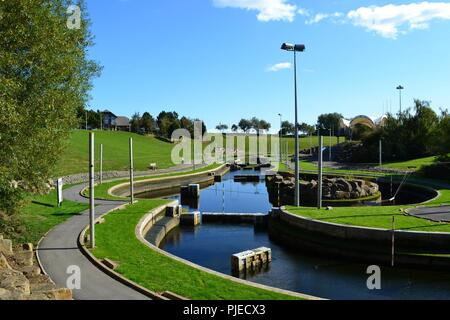 Stunning, naturally lit image of the Tees Barrage International White Water course based along the banks of the famous River Tees. - Stock Photo