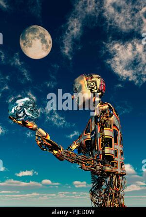 Cyborg Holding Crystal Skull - Stock Photo