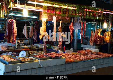 typical state for meat on the Banzaan fresh market, Patong Beach, Phuket, Thailand, typischer Stand für Fleisch auf dem Banzaan fresh market - Stock Photo