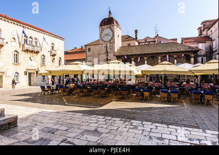 historic buildings of the old town in Trogir - Stock Photo