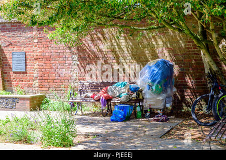 Please note the term homeless and homelessness and any other description cannot be assumed correct - Stock Photo