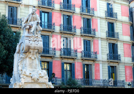 Monument of Frederic Soler located in the Plaza del Teatro in Barcelona, Spain - Stock Photo