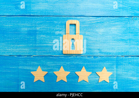 Wooden padlocks and four stars. Security, security of users and business. Internet security, antivirus, data protection. Alarms of home, car and busin - Stock Photo