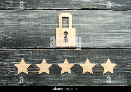 A wooden padlock and five stars. Security, security of users and business. Internet security, antivirus, data protection. Alarms of home, car and busi - Stock Photo