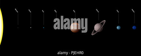 Planetary system with planets of our solar system, ITALIAN NAMES - Sun and eight planets Mercury, Venus, Earth, Mars, Jupiter, Saturn, Uranus, Neptune - Stock Photo