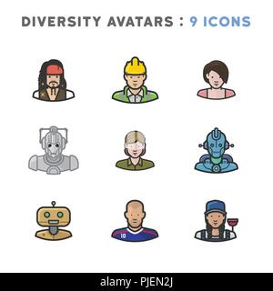 9 Avatars depicting diverse cultures, religions, and nationalities - Stock Photo