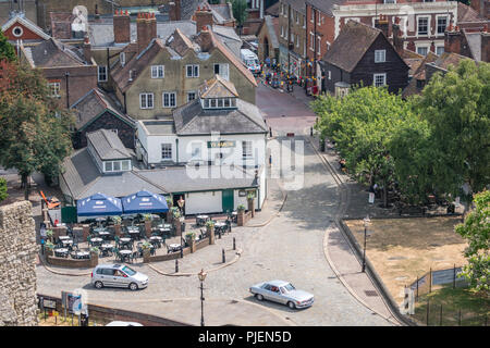 Rochester, England -  July 2018 : View of the cafes, homes and houses in Old Town, as seen from the high towers of the ruins of the 12th-century castl - Stock Photo
