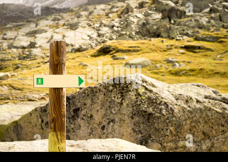 Sign trails on the top of Mount Mont Blanc - Stock Photo