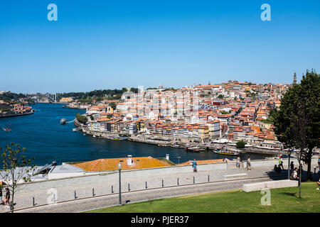 View of Porto from Vila Nova de Gaia, Portugal. - Stock Photo