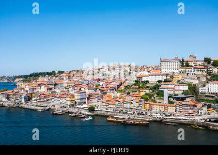 View of The Ribiera, Porto from Vila Nova de Gaia, Portugal. - Stock Photo