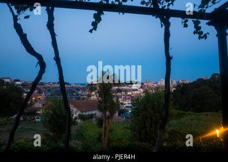 View from Vinum, the restaurant and wine bar at Graham's Port Lodge, Vila Nova de Gaia, Porto, Portugal. - Stock Photo
