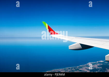 Flying over Northen Portugal with TAP Air Portugal. - Stock Photo