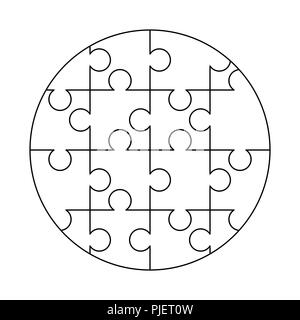 16 white puzzles pieces arranged in a round shape. Jigsaw Puzzle template ready for print. Cutting guidelines isolated on white - Stock Photo